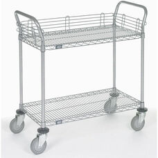 Chrome 2 Shelf Utility Cart-Polyurethane Casters - 18