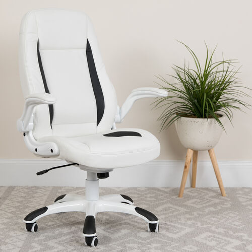 Our High Back White LeatherSoft Executive Swivel Ergonomic Office Chair with Flip-Up Arms is on sale now.