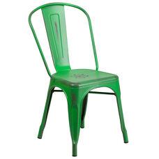 Commercial Grade Distressed Green Metal Indoor-Outdoor Stackable Chair