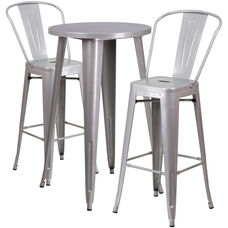 "Commercial Grade 24"" Round Silver Metal Indoor-Outdoor Bar Table Set with 2 Cafe Stools"