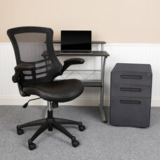 Work From Home Kit - Black Computer Desk, Ergonomic Mesh/LeatherSoft Office Chair and Locking Mobile Filing Cabinet