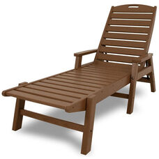 POLYWOOD® Nautical Chaise with Arms - Stackable - Teak