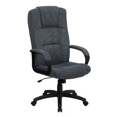 High Back Gray Fabric Executive Swivel Office Chair with Arms