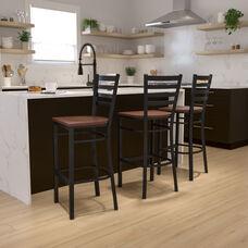 HERCULES Series Black Ladder Back Metal Restaurant Barstool - Cherry Wood Seat