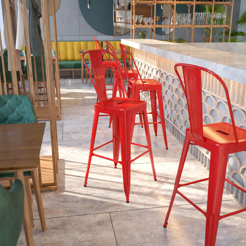 """Commercial Grade 30"""" High Red Metal Indoor-Outdoor Barstool with Removable Back"""