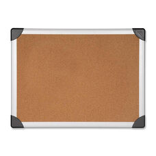 Lorell Cork Board - Aluminum - Silver/Brown