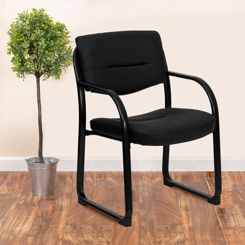 Black LeatherSoft Executive Side Reception Chair with Sled Base