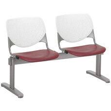 2300 KOOL Series Beam Seating with 2 Poly White Perforated Back and Burgundy Seats