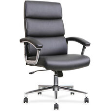 Lorell Executive High-Back Office Chair with Padded Arms - Black Leather