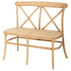 Rustic Sonoma Crossback Stackable X02 Bench with Solid Seat - Tinted raw