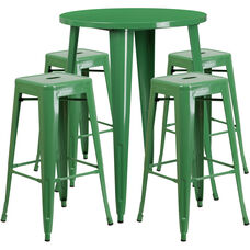 """Commercial Grade 30"""" Round Green Metal Indoor-Outdoor Bar Table Set with 4 Square Seat Backless Stools"""