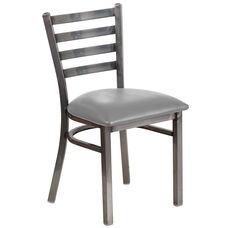 Clear Coated Ladder Back Metal Restaurant Chair with Custom Upholstered Seat