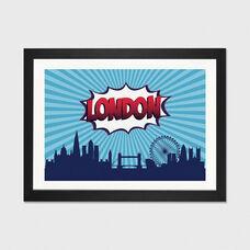 Comic Book Skyline Series: London by Octavian Mielu Artwork on Fine Art Paper with Black Matte Hardwood Frame - 32