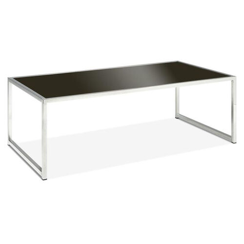 Our Ave Six Yield Tempered Glass Coffee Table with Chrome Finished Steel Base - Black is on sale now.