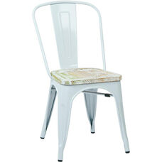OSP Designs Bristow Metal Chair with Wood Seat - 2-Pack - White and Vintage Pine Irish