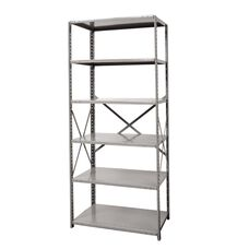 Hi-Tech Open Style 6 Adjustable Metal Shelving Starter Unit - Unassembled - Dark Gray - 87