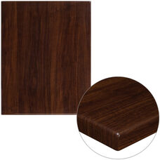 "24"" x 30"" Rectangular High-Gloss Walnut Resin Table Top with 2"" Thick Edge"