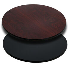 36'' Round Table Top with Reversible Black or Mahogany Laminate Top