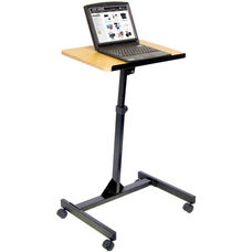 Adjustable Height Steel Frame Mobile Lectern - Black Frame with Oak Laminate Top - 19.75