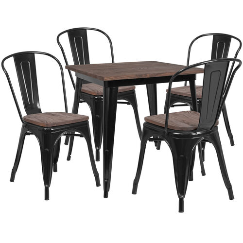 """Our 31.5"""" Square Black Metal Table Set with Wood Top and 4 Stack Chairs is on sale now."""