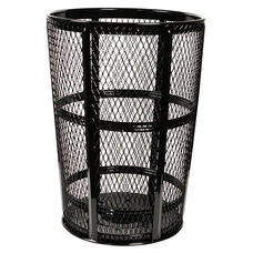 Expanded Vertically Ribbed Durable Metal Receptacle - Black