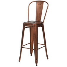 Oscar Steel Armless Barstool - Brushed Rose Gold
