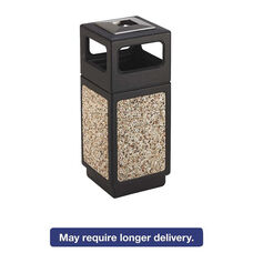 Safco® Canmeleon Ash/Trash Receptacle - Square - Aggregate/Polyethylene - 15gal - Black