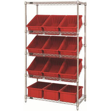 Stationary Slanted Wire Shelving with 6