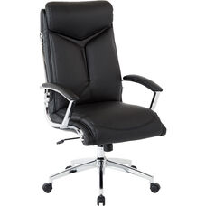 Work Smart Executive Faux Leather High Back Chair with Padded Arms - Black