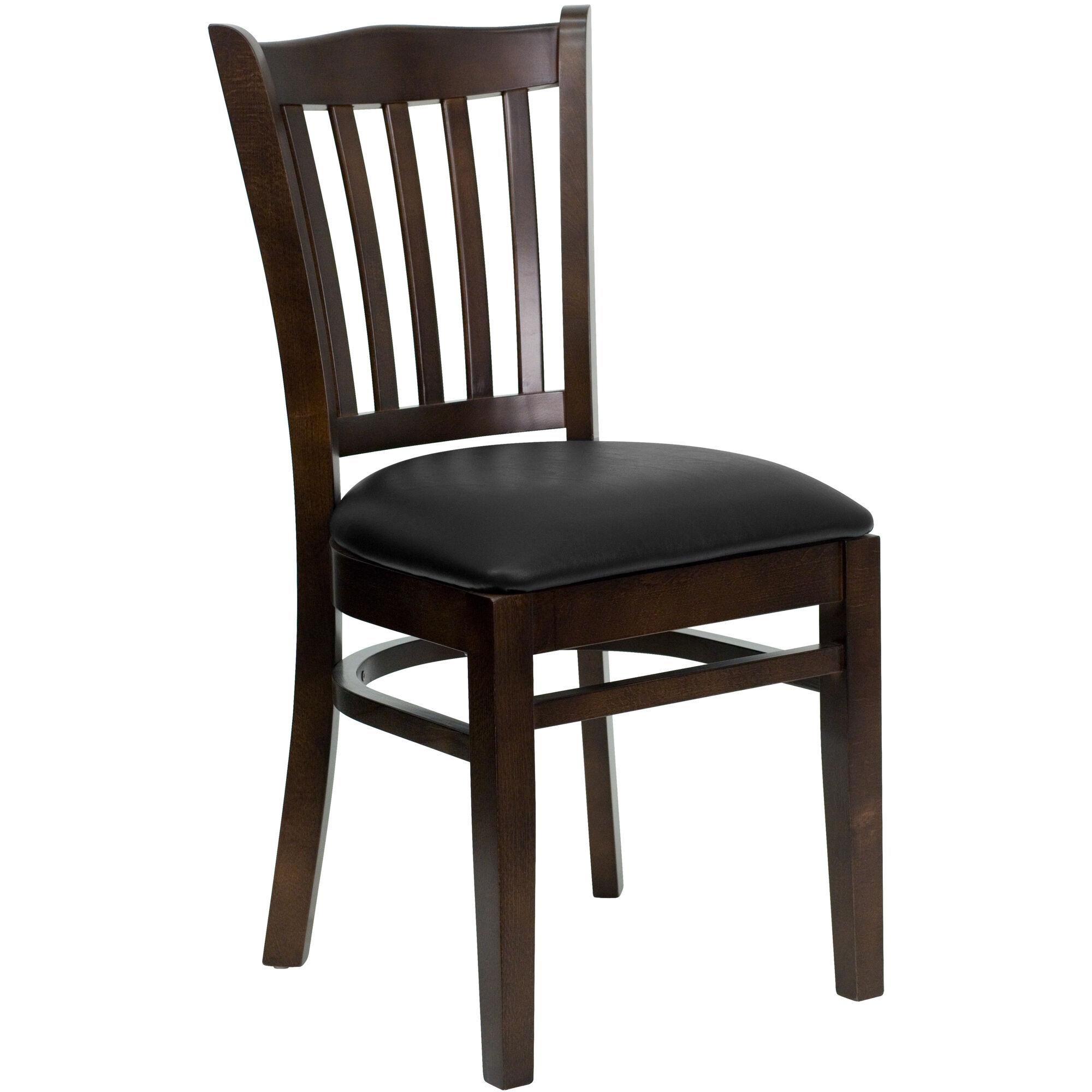 Walnut Wood Chair Blk Vinyl Bfdh 8242wbk Tdr
