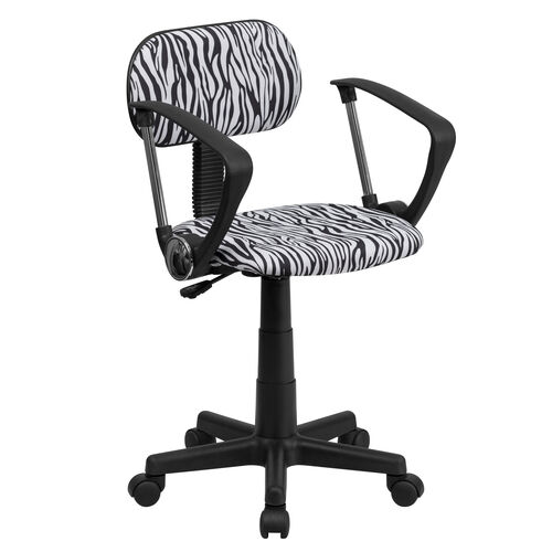 Our Zebra Print Swivel Task Chair with Arms is on sale now.