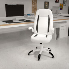 High Back White LeatherSoft Executive Swivel Ergonomic Office Chair with Flip-Up Arms