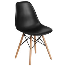 Elon Series Black Plastic Chair with Wood Base