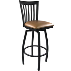 Advantage Vertical Slat Back Metal Swivel Bar Stool - Beige Padded