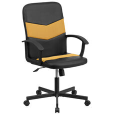Mid-Back Black Vinyl and Orange Mesh Racing Executive Swivel Office Chair with Arms
