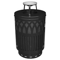 40 Gallon Covington Galvannealed Steel Ash Top Can with Plastic Liner - Black