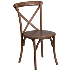 HERCULES Series Stackable Pecan Wood Cross Back Chair