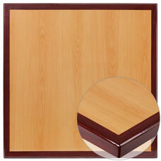 30'' Square 2-Tone High-Gloss Cherry Resin Table Top with 2'' Thick Mahogany Edge
