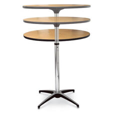 Diameter Round Plywood Pedestal Table with Telescopic Column and Aluminum X-Base