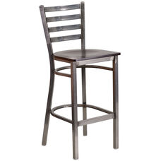Clear Coated Ladder Back Metal Restaurant Barstool with Walnut Wood Seat
