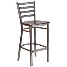 HERCULES Series Clear Coated Ladder Back Metal Restaurant Barstool - Walnut Wood Seat