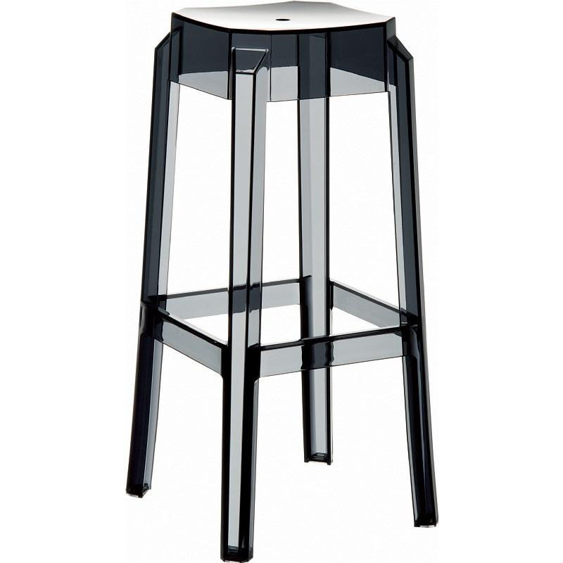 Our Fox Polycarbonate Stackable Backless Counter Stool   Transparent Black  Is On Sale Now.