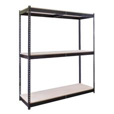 Rivetwell 3 Level Center Support Double Rivet Boltless Shelving Starter Unit with Particle Board - Unassembled - Black - 84
