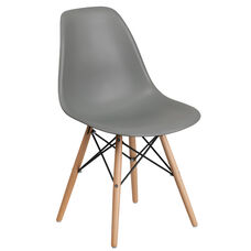 Elon Series Moss Gray Plastic Chair with Wood Base