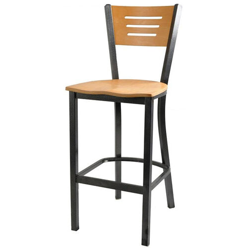 Natural Wood Back Metal Barstool with 3 Slats in Back