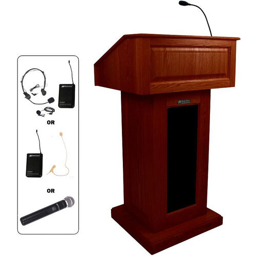 Our Victoria Wireless 150 Watt Sound and Hand Held Mic Lectern - Mahogany Finish - 26.375