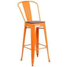 """30"""" High Orange Metal Barstool with Back and Wood Seat"""