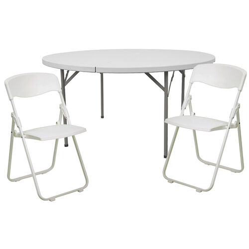 Our 5-Foot Round Banquet Table Set with 8 Folding Chairs is on sale now.
