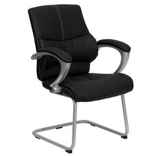 Black LeatherSoft Executive Side Reception Chair with Silver Sled Base