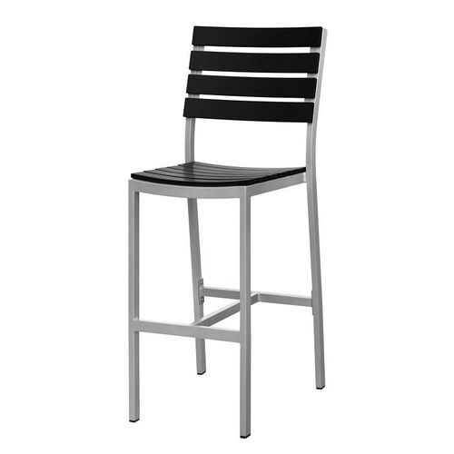 Vienna Outdoor Armless Bar Chair with Black Durawood Slat Back and Seat - Silver Finish